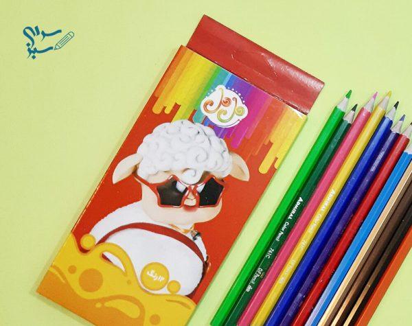 مداد رنگی 12 رنگ جعبه مقوایی لیمو