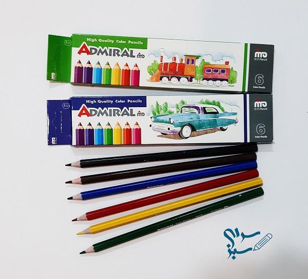 مداد رنگی 6 رنگ ادمیرال
