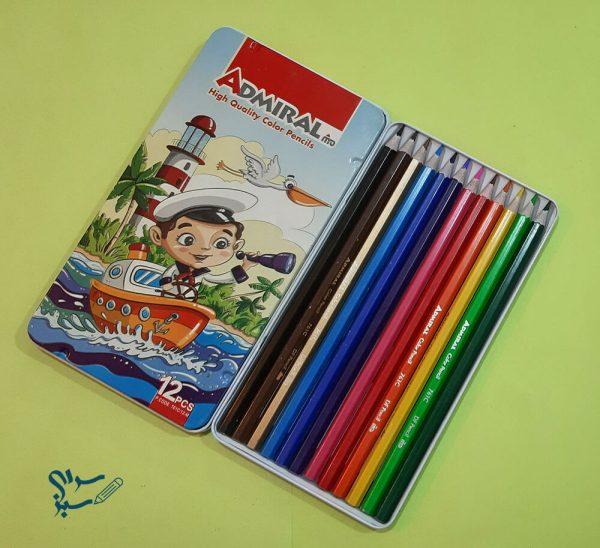 مداد رنگی 12 رنگ جعبه فلزی